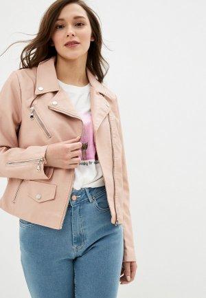 Куртка кожаная Pink Woman. Цвет: розовый