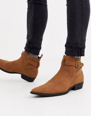 Светло-коричневые ботинки челси из искусственной замши на кубинском каблуке с пряжкой -Светло-коричневый ASOS DESIGN