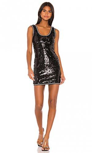 Спортивное платье в полоску robin superdown. Цвет: черный