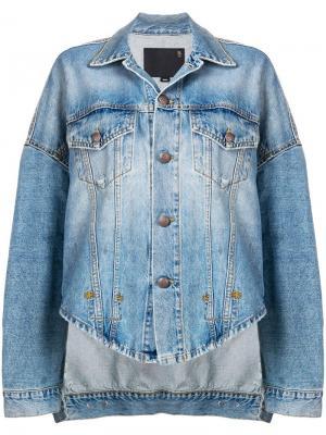 Джинсовая куртка в стиле оверсайз R13. Цвет: синий