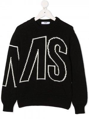 Свитер с жаккардовым логотипом MSGM Kids. Цвет: черный