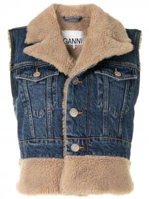 Джинсовая куртка без рукавов GANNI. Цвет: синий