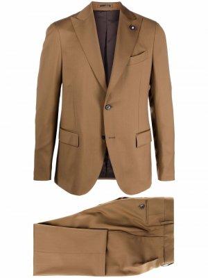 Шерстяной костюм с однобортным пиджаком Lardini. Цвет: коричневый