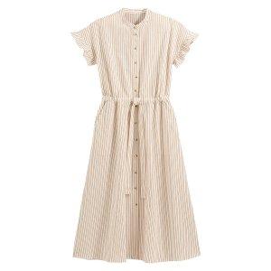 Платье-рубашка La Redoute. Цвет: каштановый