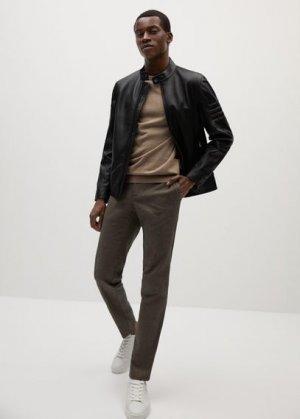 Кожаная байкерская куртка - Cuir Mango. Цвет: черный