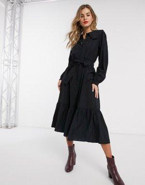 Платье миди с большим воротником Resume-Черный Résumé
