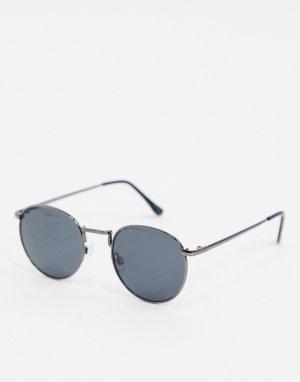 Черные солнцезащитные очки в круглой оправе -Серебряный Selected Homme
