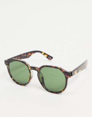 Квадратные солнцезащитные очки с узкой оправой черепаховой расцветки и дымчатыми стеклами -Коричневый цвет ASOS DESIGN