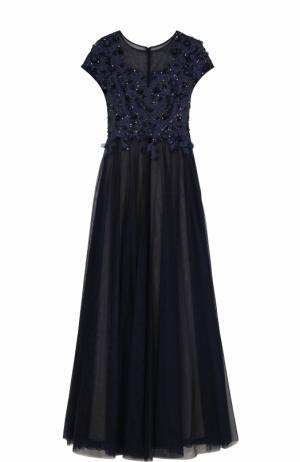 Приталенное платье-макси с коротким рукавом и вышивкой Basix Black Label. Цвет: темно-синий