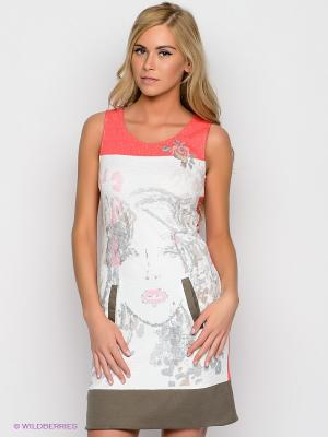 Платье Cream. Цвет: белый, бежевый, коралловый