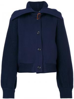 Трикотажная куртка-бомбер Chloé. Цвет: синий