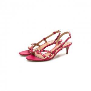 Кожаные босоножки Garavani Rockstud Valentino. Цвет: розовый