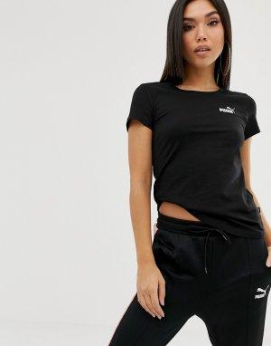 Черная футболка с логотипом Essentials-Черный Puma