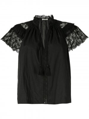 Блузка Elsie с кружевом кроше Ulla Johnson. Цвет: черный