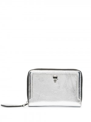 Кошелек Ikonik с эффектом металлик Karl Lagerfeld. Цвет: серебристый