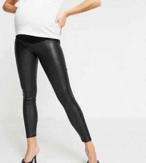 Черные леггинсы из искусственной кожи с прошитой стрелкой ASOS DESIGN Maternity-Черный Maternity