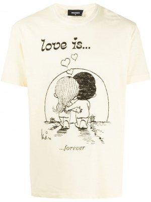 Футболка с принтом Love Is Forever Dsquared2. Цвет: желтый