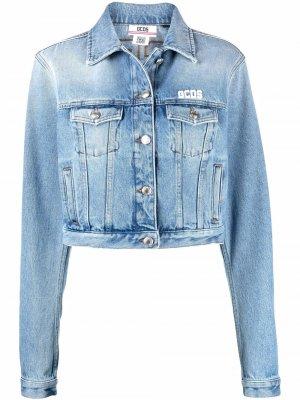 Джинсовая куртка с вышитым логотипом Gcds. Цвет: синий