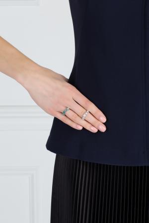 Кольцо из латуни с кристаллами Ca&Lou. Цвет: голубой