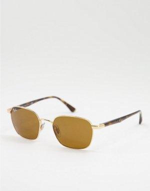 Солнцезащитные очки в золотистой прямоугольной оправе стиле унисекс 0RB3664-Золотистый Ray-Ban