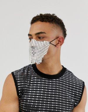 Серебристая маска -Серебряный ASOS DESIGN