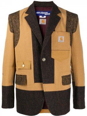 Однобортный пиджак со вставками Junya Watanabe MAN. Цвет: коричневый