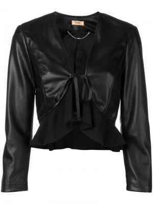 Укороченная кожаная куртка Liu Jo. Цвет: черный