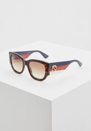 Очки солнцезащитные Gucci GG0276S002. Цвет: коричневый