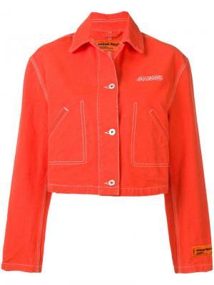 Укороченная джинсовая куртка Heron Preston. Цвет: оранжевый