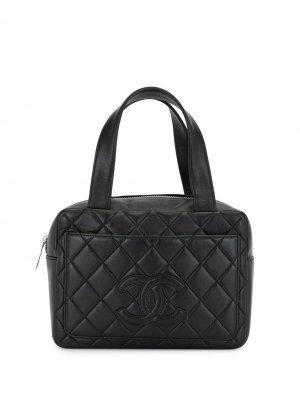 Стеганая сумка-тоут 2001-го года с логотипом CC Chanel Pre-Owned. Цвет: черный