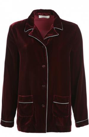 Бархатная блуза в пижамном стиле с контрастной отделкой Valentino. Цвет: бордовый