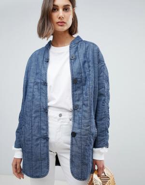 Стеганая джинсовая куртка Lykke Waven. Цвет: синий