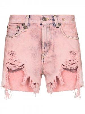 Джинсовые шорты с прорезями R13. Цвет: розовый