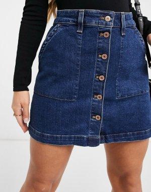 Джинсовая юбка мини с пуговицами спереди -Голубой J Crew