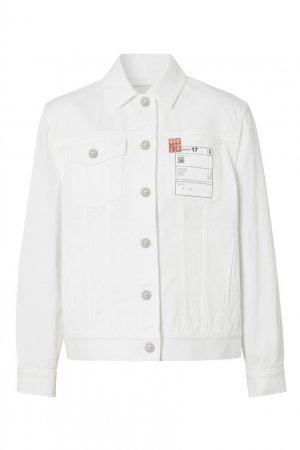Белая джинсовая куртка с принтом Burberry. Цвет: белый