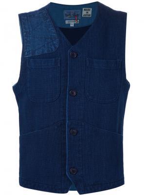 Жилетка с накладными карманами Blue Japan. Цвет: синий