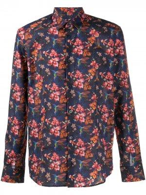 Рубашка с цветочным принтом и длинными рукавами Daniele Alessandrini. Цвет: синий