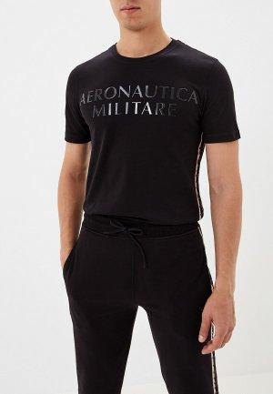 Футболка Aeronautica Militare. Цвет: черный