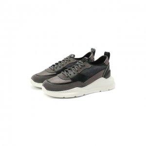 Комбинированные кроссовки Santoni. Цвет: серый