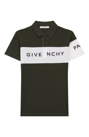Хлопковое поло Givenchy. Цвет: хаки