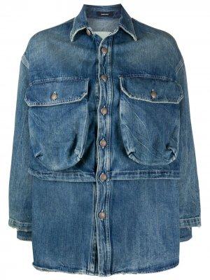 Многослойная джинсовая куртка Alice R13. Цвет: синий