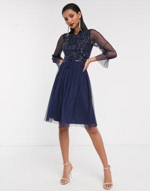 Сетчатое приталенное платье с длинными рукавами Frock & Frill-Темно-синий and Frill