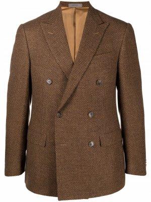 Двубортный пиджак с геометричным узором Corneliani. Цвет: коричневый