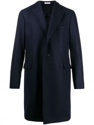Однобортное пальто Boglioli. Цвет: синий