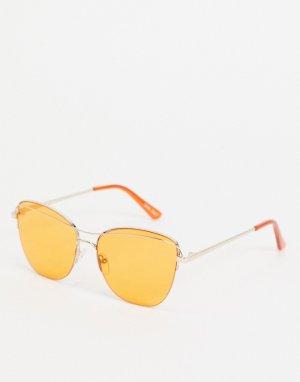 Круглые золотистые солнцезащитные очки в стиле унисекс с оранжевыми стеклами -Золотистый Jeepers Peepers