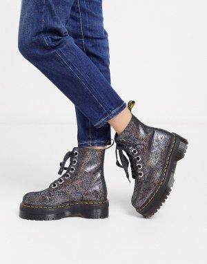 Кожаные ботинки с эффектом металлик -Серебряный Dr Martens