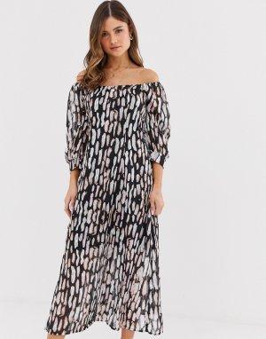 Платье миди с открытыми плечами и абстрактным звериным принтом -Белый Religion