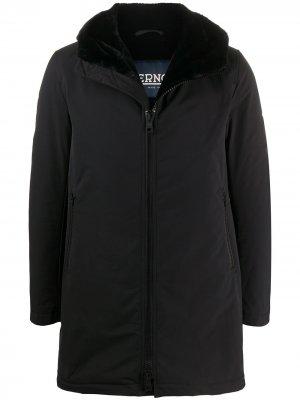 Короткое пальто с капюшоном Herno. Цвет: черный