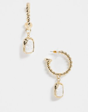 Золотистые серьги-кольца с подвесками из искусственного жемчуга -Золотой ASOS DESIGN