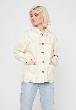 Куртка джинсовая Noisy May. Цвет: бежевый